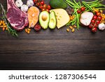 ketogenic low carbs ingredients ... | Shutterstock . vector #1287306544