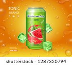watermelon drink metal can with ... | Shutterstock .eps vector #1287320794