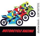 motorcycle racing poster and... | Shutterstock .eps vector #1287337231