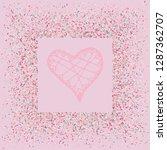 rose gold glitter heart frame.... | Shutterstock .eps vector #1287362707