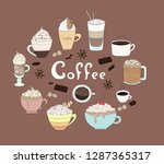 coffee collection. hot drink... | Shutterstock .eps vector #1287365317