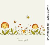 vector background with grass... | Shutterstock .eps vector #128736944