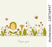 vector background with flowers... | Shutterstock .eps vector #128736947