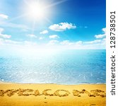beauty seascape. word welcome... | Shutterstock . vector #128738501