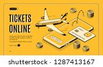 booking airline tickets online... | Shutterstock .eps vector #1287413167