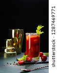 bloody mary cocktail. alcoholic ... | Shutterstock . vector #1287469771