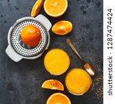summer drink. fresh orange... | Shutterstock . vector #1287474424