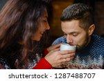 happy and romantic couple in... | Shutterstock . vector #1287488707