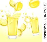 lemon juice. realistic vector... | Shutterstock .eps vector #1287492841