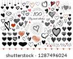 more than 100 doodle heart... | Shutterstock .eps vector #1287496024