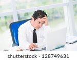portrait of a tired businessman ... | Shutterstock . vector #128749631