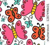 cartoon doodle linear seamless... | Shutterstock .eps vector #1287498631