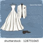 vintage poster with with a... | Shutterstock .eps vector #128751065
