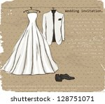vintage poster with with a... | Shutterstock .eps vector #128751071