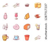 cheeses  cutlery  drinks ... | Shutterstock .eps vector #1287517237