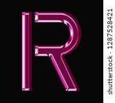 shiny pink glass letter r in a... | Shutterstock . vector #1287528421