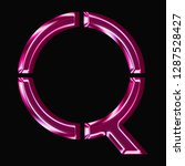 shiny pink glass letter q in a... | Shutterstock . vector #1287528427