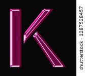 shiny pink glass letter k in a... | Shutterstock . vector #1287528457