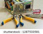 side view of opened desktop... | Shutterstock . vector #1287533581