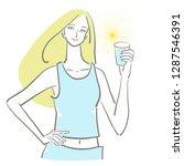 water drink woman | Shutterstock .eps vector #1287546391