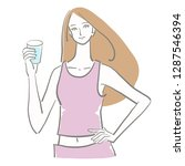 water drink woman | Shutterstock .eps vector #1287546394