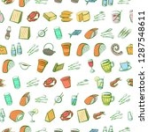 cheeses  cutlery  drinks ... | Shutterstock .eps vector #1287548611