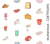 cheeses  cutlery  drinks ... | Shutterstock .eps vector #1287551041