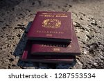 passport is on stone surface | Shutterstock . vector #1287553534