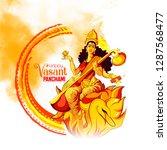 happy vasant panchami pooja of... | Shutterstock .eps vector #1287568477