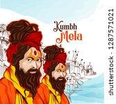 sadhu saint of india for grand... | Shutterstock .eps vector #1287571021