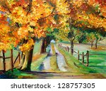 oil painting   country road... | Shutterstock . vector #128757305