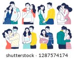 collection of romantic couples... | Shutterstock .eps vector #1287574174