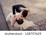 happy young bride and groom on... | Shutterstock . vector #128757629
