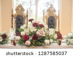 red  pink and white roses... | Shutterstock . vector #1287585037