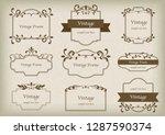 vintage frame set | Shutterstock .eps vector #1287590374