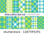Blue And Lime Green Tartan And...