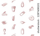 cutlery  drinks  seafood and... | Shutterstock .eps vector #1287608101