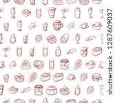drinks and snacks set.... | Shutterstock .eps vector #1287609037