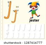 letter j tracing alphabet...   Shutterstock .eps vector #1287616777