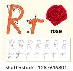 letter r tracing alphabet...   Shutterstock .eps vector #1287616801