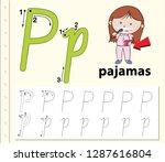 letter b tracing alphabet...   Shutterstock .eps vector #1287616804