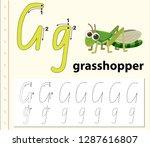 letter g tracing alphabet...   Shutterstock .eps vector #1287616807