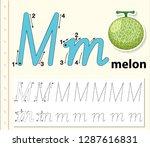 letter m tracing alphabet...   Shutterstock .eps vector #1287616831