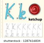 letter k tracing alphabet...   Shutterstock .eps vector #1287616834
