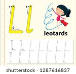 letter l tracing alphabet...   Shutterstock .eps vector #1287616837