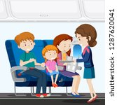 a family on airplane... | Shutterstock .eps vector #1287620041