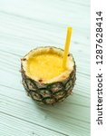 fresh pineapple smoothie glass... | Shutterstock . vector #1287628414