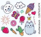 kawaii sticker set  cute...   Shutterstock .eps vector #1287631474