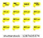 set of yellow sale icon banners ...   Shutterstock .eps vector #1287635374