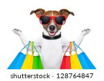 Stock photo  dog with shopping bags 128764847
